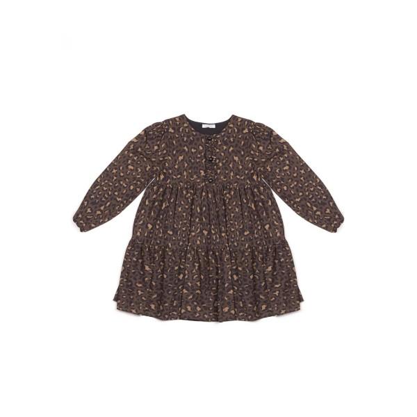 Φόρεμα κοριτσιού σε animal print (λεοπάρ) χρώμα με τρία κουμπακια στο μπροστινό μέρος της εταιρίας  Coconudina