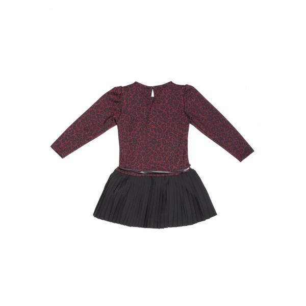 Φόρεμα κοριτσιού λαμπερό σε animal print (λεοπάρ μπορντό) χρώμα το πάνω μέρος και πλισέ μαύρη από κάτω φούστα με ζώνη από δέρμα στη μέση της εταιρίας  Coconudina