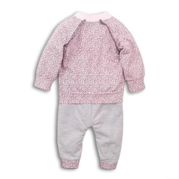 Σετ κοριτσιού 3 τεμαχίων βαμβακερή φόρμα (μπλούζα,ζακέτα,παντελόνι) σε ροζ - γκρι χρώμα της εταιρίας Dirkje