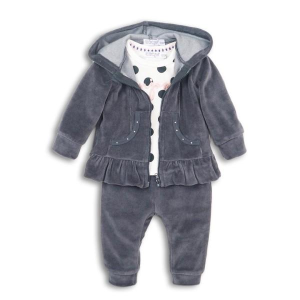 Σετ κοριτσιού 3 τεμαχίων βελούδινη φόρμα  (μπλούζα πουά,ζακέτα,παντελόνι) σε γκρι ποντική χρώμα της εταιρίας Dirkje