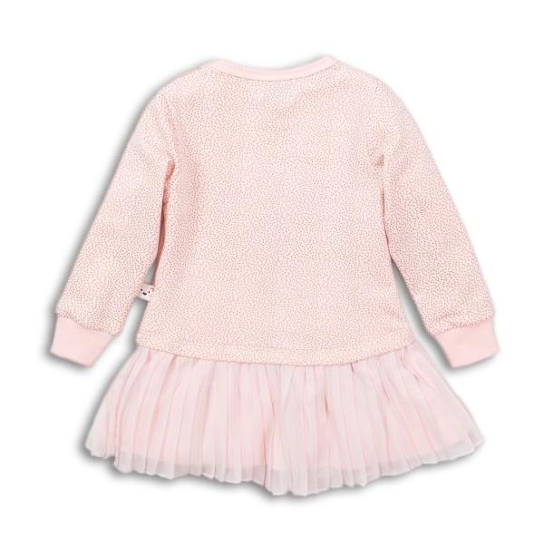"""Φόρεμα κοριτσιού σε ροζ - σομον χρώμα σχέδιο """"Joy"""" στο μπροστινό μέρος πολύ ιδιαίτερο το κάτω μέρος του με λεπτομέρειες από πιέτες της εταιρίας Dirkje"""