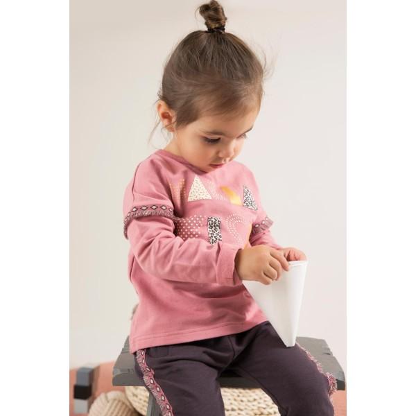 Παντελόνι φόρμας κοριτσιού βαμβακερή σε γκρι ποντική χρώμα με κορδόνι στη μέση και ρίγα στο πλάι της εταιρίας Dirkje