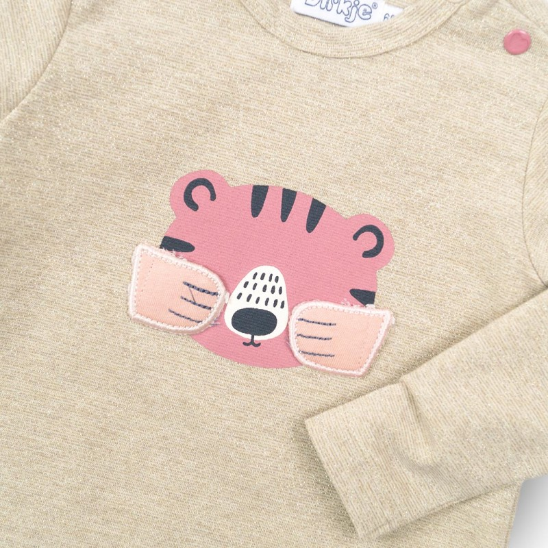 Μπλούζα κοριτσιού φούτερ βαμβακερή σε μπεζ χρώμα με σχέδιο στο μπροστινό μέρος αρκουδάκι της εταιρίας Dirkje