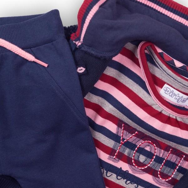 Σετ αγοριού 3 τεμαχίων φόρμα βρεφική (μπλούζα ριγέ,ζακέτα με κουκούλα πολύ ζεστή,παντελόνι με σχέδιο χείλι στα γόνατα) σε μπλέ χρώμα της εταιρίας Dirkje