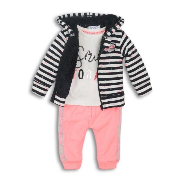 Σετ κοριτσιού 3 τεμαχίων βελούδινη φόρμα  (μπλούζα λευκή,ζακέτα ασπρόμαυρη με κουκούλα με επένδυση εσωτερική γούνα,παντελόνι βελούδινο ροζ - σομον με διπλή ριγα στο πλάι ) της εταιρίας Dirkje