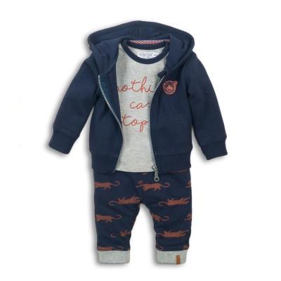 Σετ αγοριού 3 τεμαχίων βαμβακερή φόρμα (μπλούζα με γράμματα σε γκρι χρώμα ,ζακέτα με κουκούλα,παντελόνι) σε μπλε χρώμα με σχέδιο ζωάκι της εταιρίας Dirkje