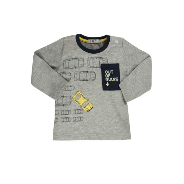 Μπλουζάκι γκρι αγοριού με σχέδια EMC BX1830206076
