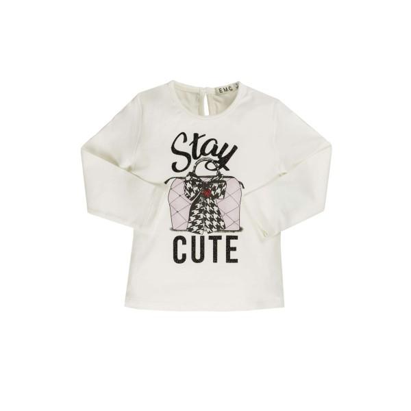 Μπλούζα κοριτσιού εκρού με σχέδιο EMC BX1876206074