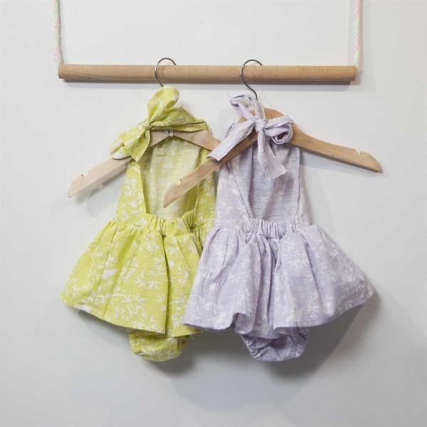 Φόρεμα βρεφικό κοριτσιού σε λιλά χρώμα με λεπτομέρειες απο λουλούδια Two in a Castle