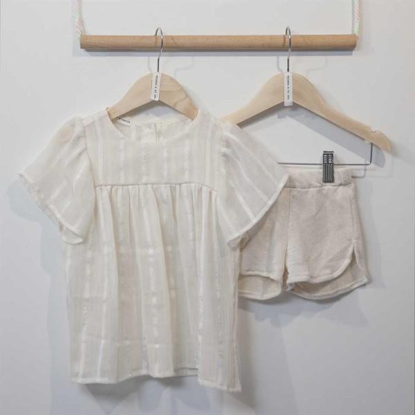 Σετ κοριτσιού εκρού σορτς & πουκάμισο Two in a Castle