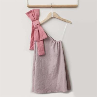 Φόρεμα καλοκαιρινό κοριτσιού σε ροζ χρώμα με έναν ώμο και φιόγκο Two in a Castle
