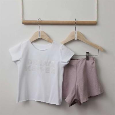 Σετ κοριτσιού σορτσάκι ρόζ & μπλουζάκι λευκό Two in a Castle