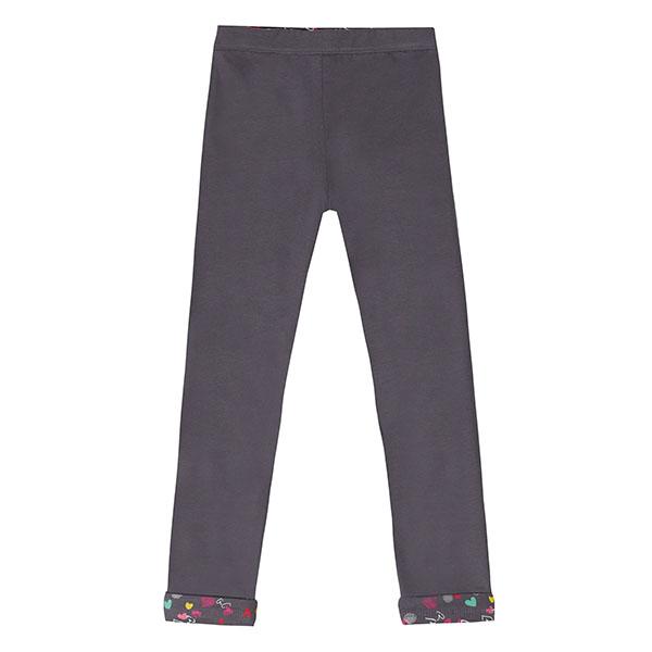 Κολάν παντελόνι κοριτσιού σε ανθρακί χρώμα διπλής όψεως πολύχρωμο UBS2 H211519_999