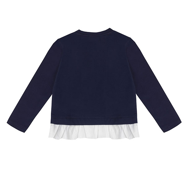 Μπλούζα κοριτσιού σε μπλε χρώμα/ σχέδιο καρδιά με λεπτομέρεια φρου φρου στο κάτω μέρος  UBS2 H219508_999