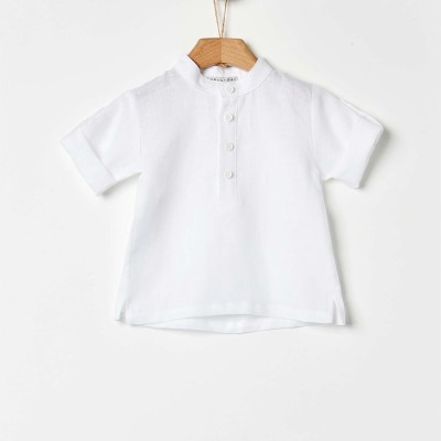 Πουκαμίσα αγοριού λινή σε λευκό χρώμα της εταιρίας YELL-OH!