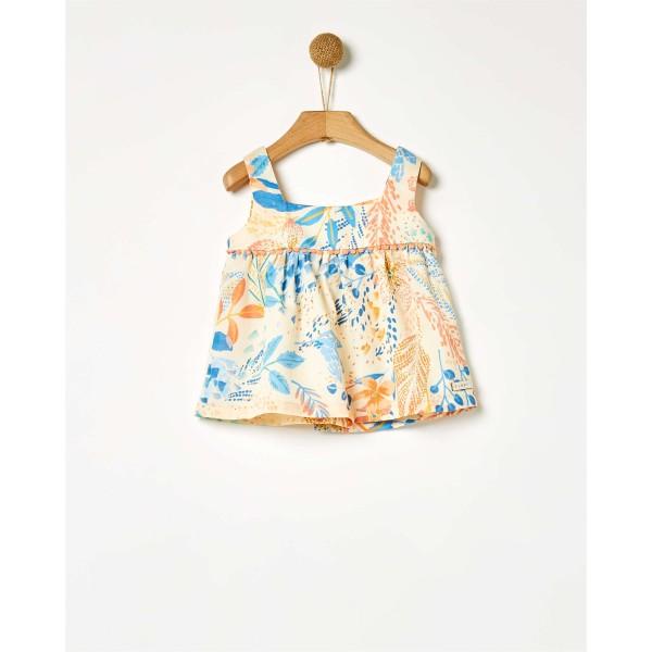 Μπλούζα αμάνικη floral με σούρα κοριτσιού της εταιρίας YELL-OH!