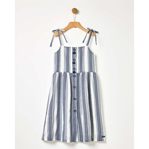 Φόρεμα κοριτσιού σιελ υφαντό ριγέ με κουκούλα της εταιρίας YELL-OH!