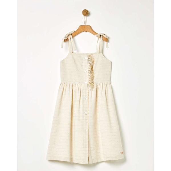 Φόρεμα κοριτσιού εκρού Natural Lurex της εταιρίας YELL-OH!