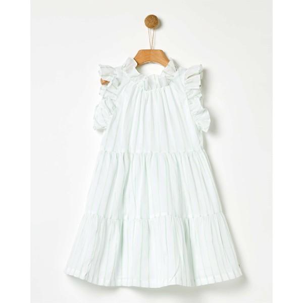 Φόρεμα κοριτσιού λευκο με ριγα πράσινο ανοιχτο Jackie Ριγέ Lurex της εταιρίας YELL-OH!