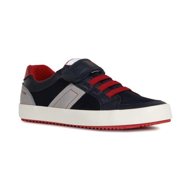 Παπούτσι αγοριού κλειστό μπλε κόκκινο γρι με κορδόνια και αυτοκόλλητο αγόρι ανατομικό Geox J922CC 014BU C0735