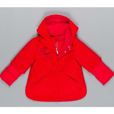 Μπουφάν κοριτσιού σε κόκκινο χρώμα με φερμουάρ, κουκούλα/ σχέδιο φιόγκους της εταιρίας ΒYBLOS  BJ14207