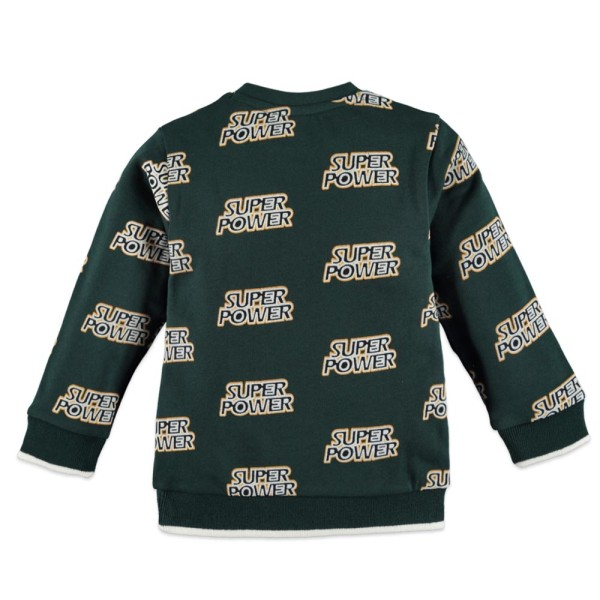 """Μπλουζάκι αγοριού φούτερ σε πράσινο κυπαρισσί χρώμα με τύπωμα """"super power"""" της εταιρία Babyface"""