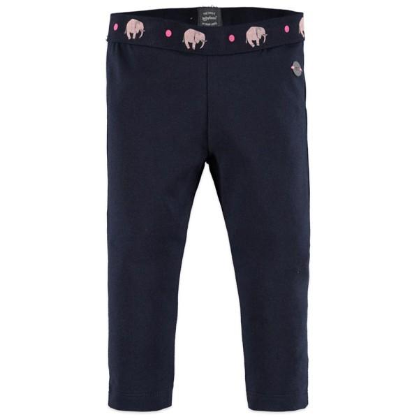 Παντελόνι κολάν κοριτσιού με λάστιχο στη μέση σε μπλε σκούρο χρώμα με σχέδια ελεφαντάκια ροζ της εταιρίας Babyface