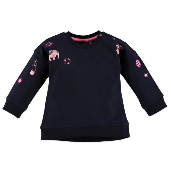 Μπλούζα φούτερ κοριτσιού σε μπλε σκούρο χρώμα με λεπτομέρειες ελεφαντάκια ροζ στο μπροστινό μέρος της εταιρίας Babyface