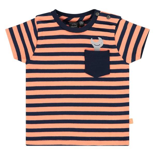 T-shirt βρεφικό σε πορτοκαλί-μπλέ ριγέ χρώμα με σχέδιο στο πλάι στεπάκι της εταιρίας Babyface