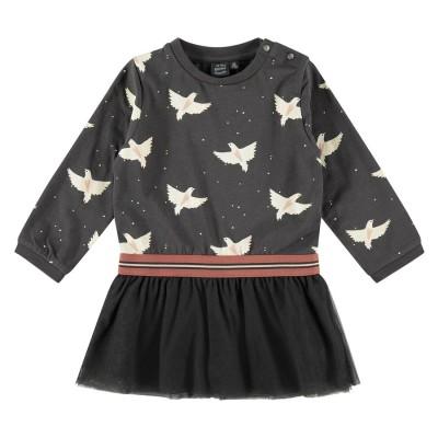 Φόρεμα κοριτσιού σε ανθρακί / μαύρο χρώμα με σχέδιο πουλιά της εταιρία Babyface BBE21408754