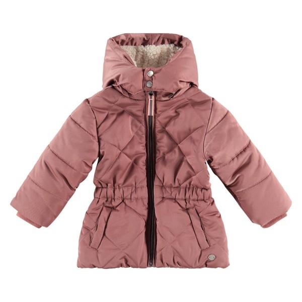 Μπουφάν parka κοριτσιού με γούνα και κουκούλα σε ροζ χρώμα με φερμουάρ που κλείνει της εταιρίας Babyface BBE21508170