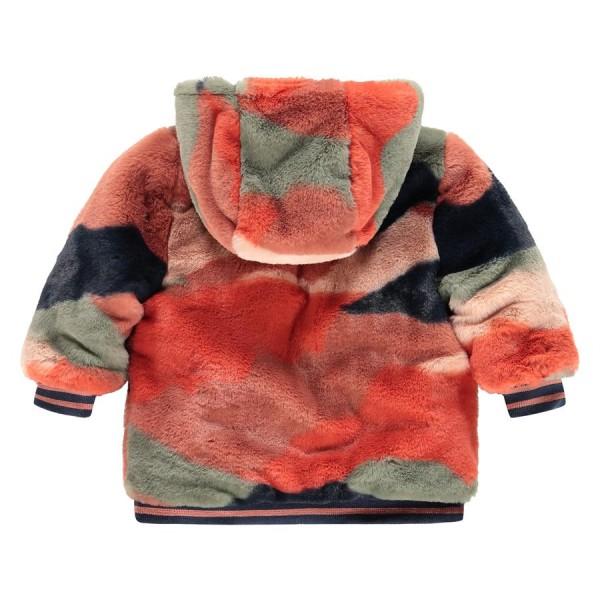 Μπουφάν κοριτσιού διπλή όψη με γούνα και κουκούλα σε μπλέ χρώμα με φερμουάρ που κλείνει της εταιρίας Babyface BBE21508174