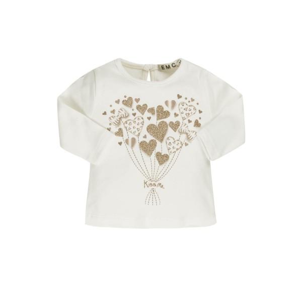 Μπλούζα κοριτσιού εκρού σχέδιο καρδιά EMC BX1844184002-1002