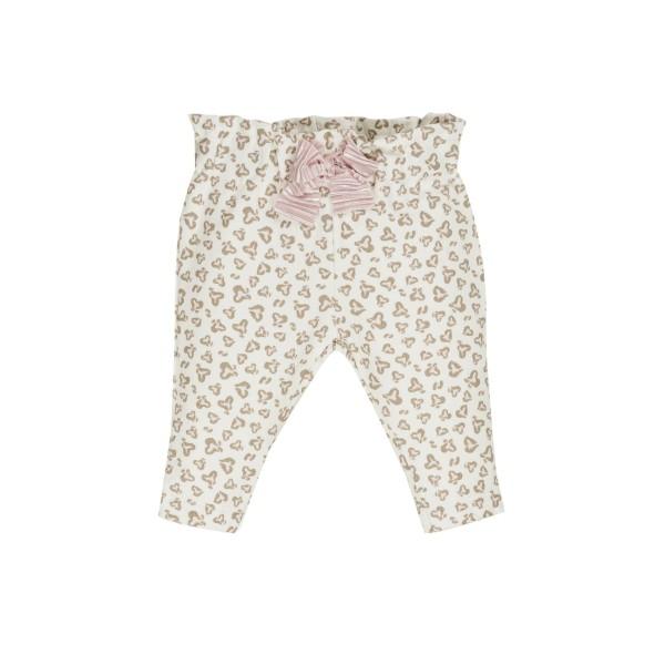 Παντελόνι κοριτσιού εκρού με σχέδια /φιογκο ροζ EMC  BZ6609141890