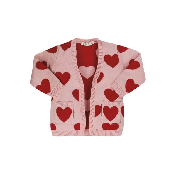 Ζακέτα κοριτσιού ροζ σχέδιο καρδιά EMC  CE1679906001