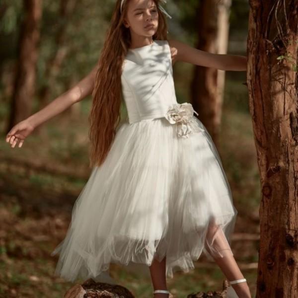 Φόρεμα μεταξωτό τούλι λευκό κορίτσι παρανυφακι petit