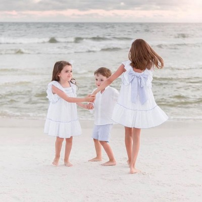 Φόρεμα λίνο λευκό χειροποίητο κορίτσι martin aranda