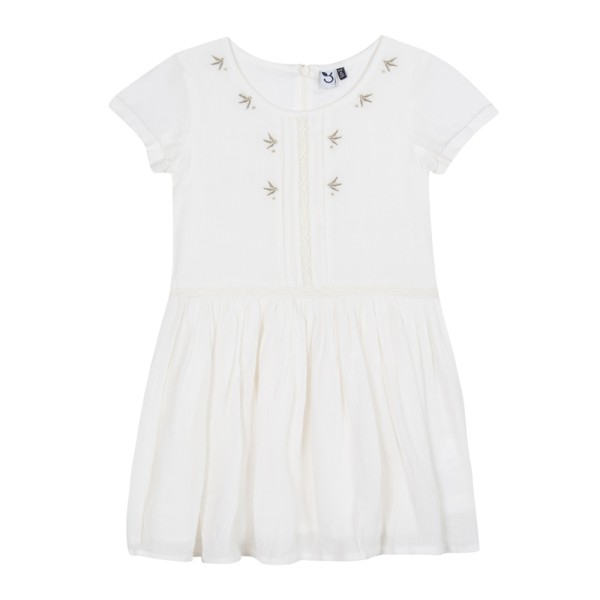 Φόρεμα λευκό λινό με κέντημα με κοντό μανίκι κορίτσι 3Pommes