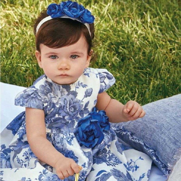 Φόρεμα  μοβ λιλά φλοραλ κοντό μανίκι Petit