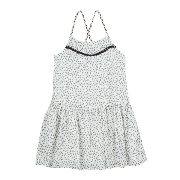 Φόρεμα λευκό με γρι άσπρα λουλούδια τιραντε υφασμάτινο 3Pommes