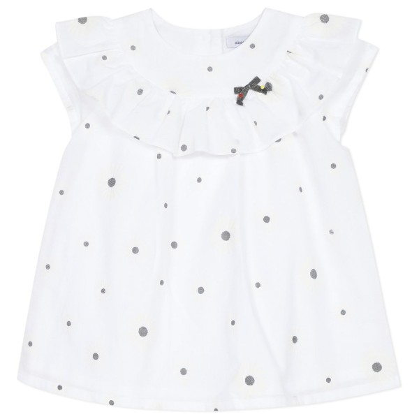 Φόρεμα υφασμάτινο λευκό με γκρι λεπτομέρειες με κούμπωμα κορίτσι absorba