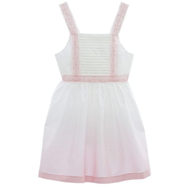 Φόρεμα υφασματινο λευκό και ροζ απόχρωση τιραντε δαντέλα κορίτσι Patachoy