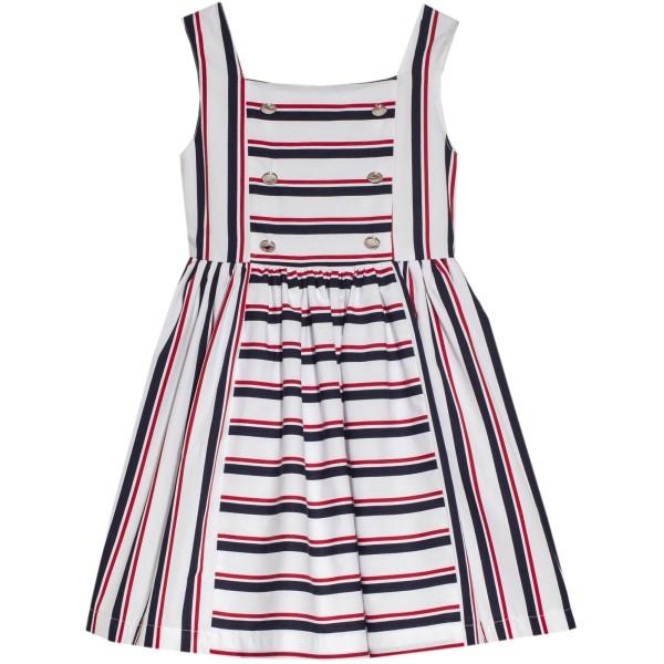 Φόρεμα υφασμάτινο ριγέ μπλε λευκό κόκκινο τιραντε κορίτσι Patachou
