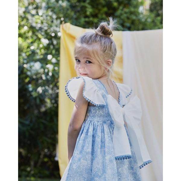 Φόρεμα υφασματινο χειροποίητο σιέλ λευκό κορίτσι martin aranda