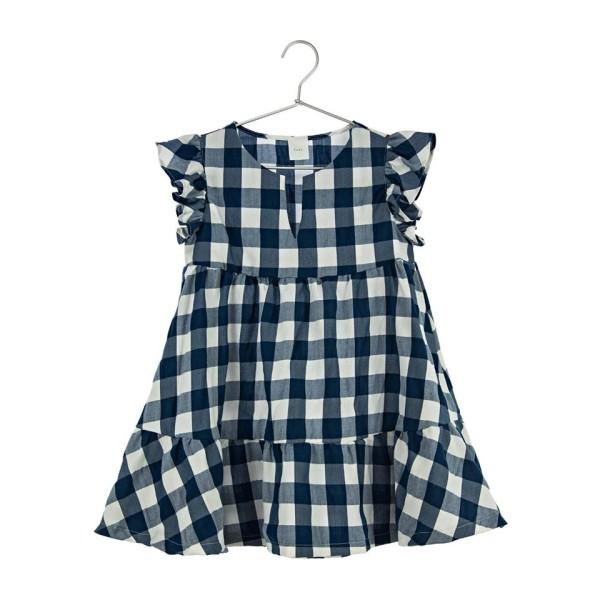 Φόρεμα υφασμάτινο καρό μπλε λευκό pure