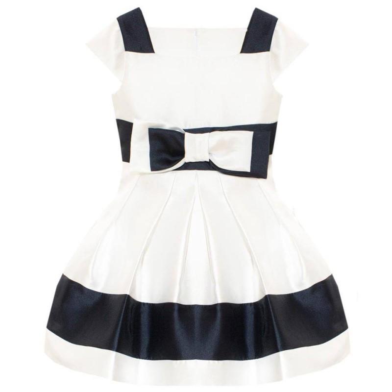 Φόρεμα λευκό με μπλε ριγα φιόγκο τιραντε φερμουάρ κορίτσι Patachou