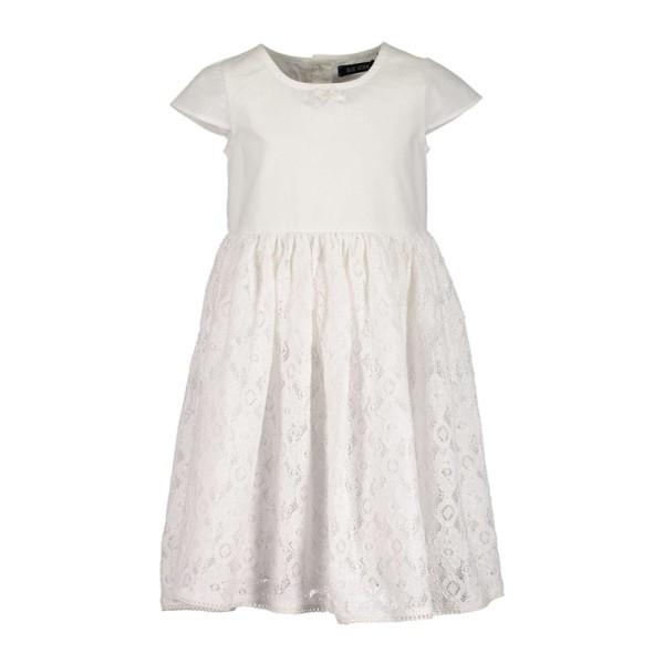 Φόρεμα λευκό με κοντό μανίκι σχέδιο κέντημα Blue seven
