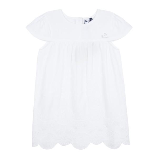 Φόρεμα λευκό με κέντημα με κοντό μανίκι κορίτσι 3Pommes