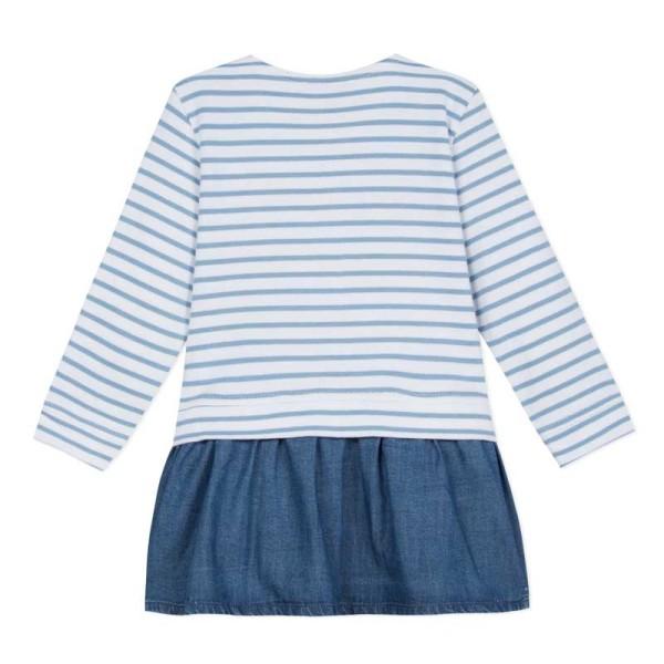 Φόρεμα ριγέ μπλε τζιν μακρύ μανίκι κορίτσι Absorba