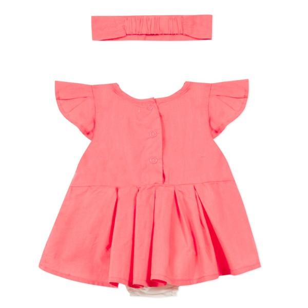 Φόρεμα φουξ καρπούζι υφασμάτινο με κορμάκι αμάνικο κέντημα κορίτσι 3pommes